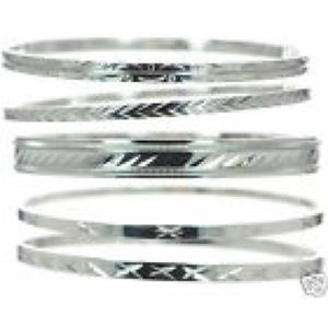 NEW! 5 DIAMOND CUT STAINLESS STEEL BANGLES