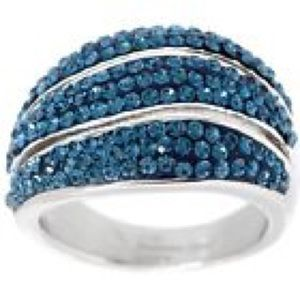 NEW! BLUE CRYSTAL WAVE STAINLESS STEEL RING 7
