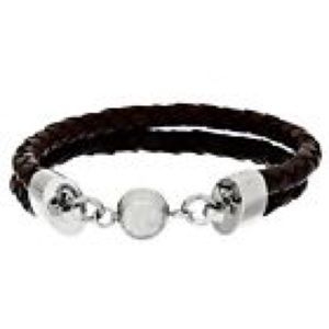 NEW! STAINLESS STEEL BRIWN LEATHER BRACELET