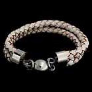 NEW! STAINLESS STEEL WHITE LEATHER BRAID BRACELET