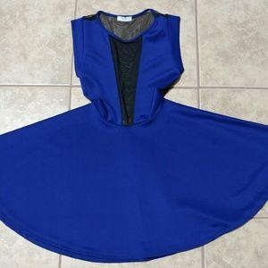 Scuba skater dress blue
