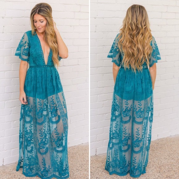 be364778bfda Teal Lace Maxi Romper