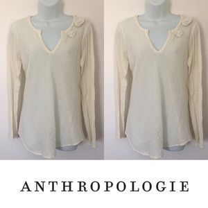 Anthropologie Tops -   C.C. Outlaw   Cream Gauze Long Sleeve Floral Top