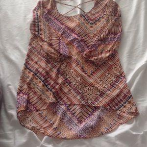 Moa Moa Tops - Tan/purple printed top