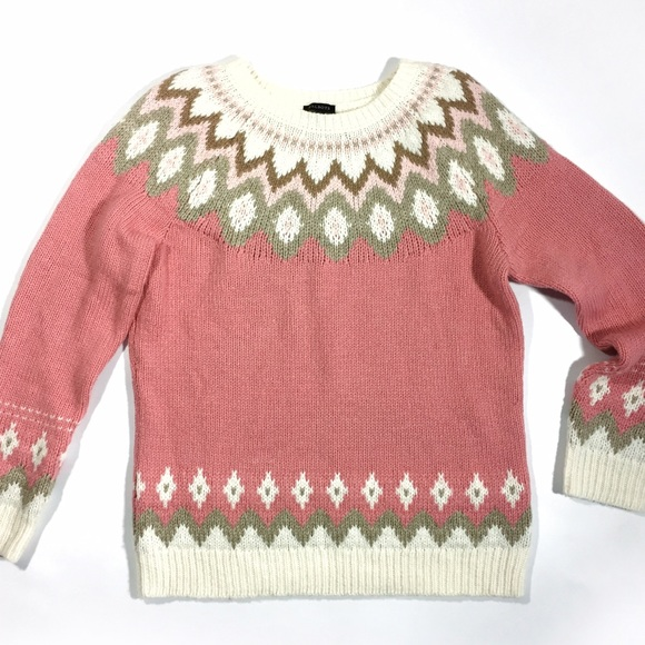 Talbots - Talbots fair isle pink and ivory crew neck sweater from ...