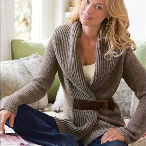 Soft Surroundings cardigan. Brwn. Suede front belt