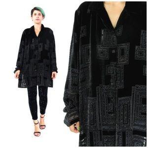 Appleseed's Tops - Black Velvet Embellished Long Sleeve Buttondown