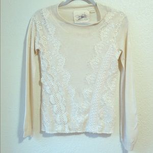 angel of the north Sweaters - Romantic Cream Lace Sweater