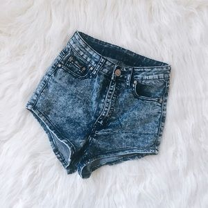 Pants - High Waisted Acid Wash Shorts