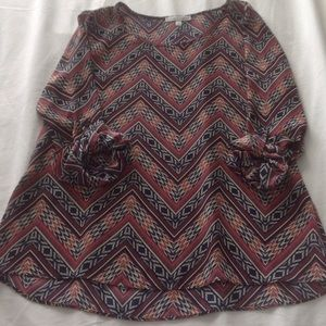 Moa Moa Tops - Brown printed top, 3/4 length sleeves
