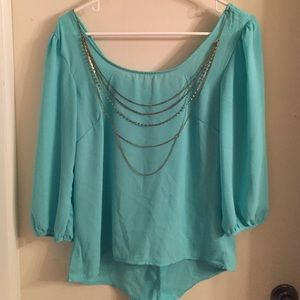 Mint sheer bow back top