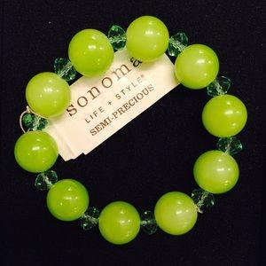 Sonoma Jewelry - 🆕 Green Jade-like pearl rhinestone & gem bracelet