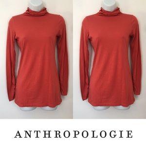 Anthropologie Tops -   C. Keer   Orange Ruched Sleeve Turtleneck Top