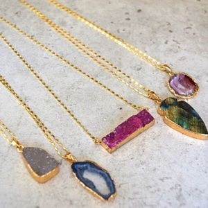 Function & Fringe Jewelry - Natural Druzy Stone Necklace Gold