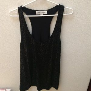 Fifteen Twenty Black sequin racerback tank