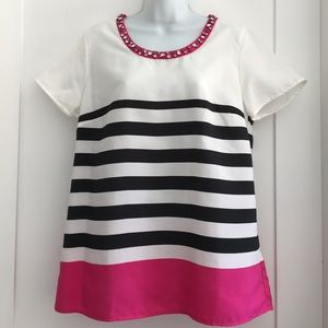 Saks Fifth Avenue Tops - Saks Fifth Avenue Striped Top size M