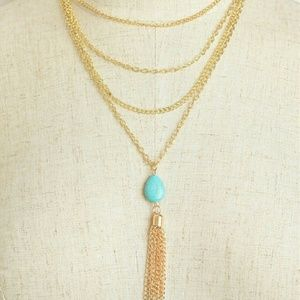 Jewelry | TURQUOISE HOWLITE GOLD LAYER NECKLACE