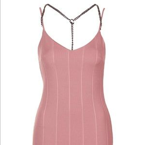 Topshop Dresses & Skirts - Top Shop Pink Bandage Dress With Chain Detail Sz 8