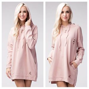 Honey Punch Dresses & Skirts - Pink Hoodie Dress w Pockets