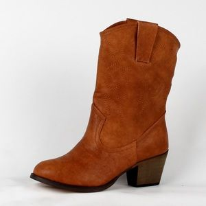 Shoes - Faux leather ankle cowboy boot (West-01 Cognac)