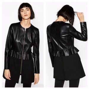 Zara Contrast Leather Effect Frock Coat NWT