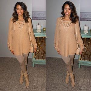 chicwish Sweaters - Chicwish lace up sweater size small