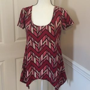 Maternity WILDE burgundy, pink & grey top, size S