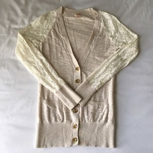 Cream Colored Cardigan With Lace Sleeves