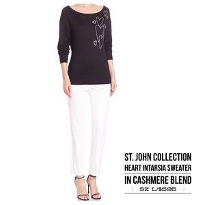 St. John❤Front Heart Intarsia Sweater/Black