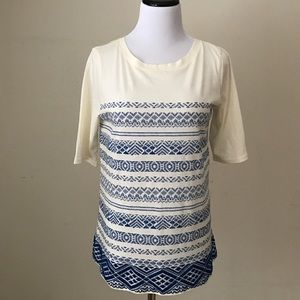 J. Crew Printed Embroidered Tee