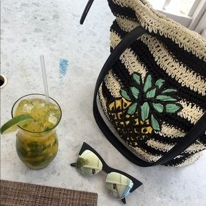 Topshop striped pineapple beach bag