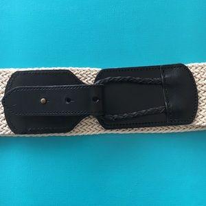 Linea Pelle Accessories - Anthropologie Black Leather/ Braided Cotton Belt