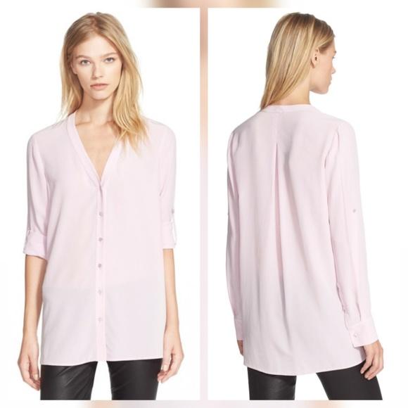 fe15da496 Vince Tops | Pink Silk Button Up Blouse | Poshmark