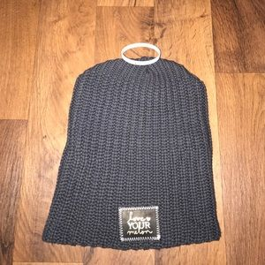 Love Your Melon Charcoal Gold Foiled Beanie Hat
