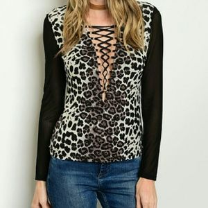 Tops - Animal print lace up front top
