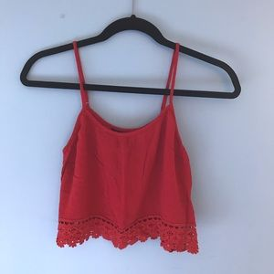 Forever 21 Red Cropped Tank (Size S)