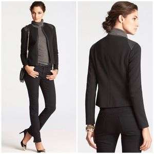 Ann Taylor Fabric and Faux Quilted Leather Jacket
