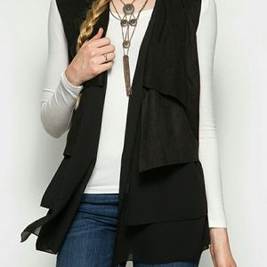 She and Sky Jackets & Blazers - Black Suede Layered Vest