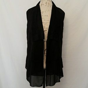 She and Sky Jackets & Blazers - Black Suede Vest