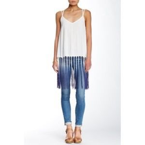 "Sugarlips Tops - Blue/white OMBRÉ ""Fringe"" sleeveless top"