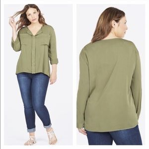 JustFab Tops - NWT Olive Green Oversized Dolman Top Plus Size 1X