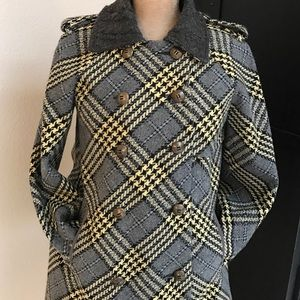 Free People Double Breasted Gray Multi Plaid Coat