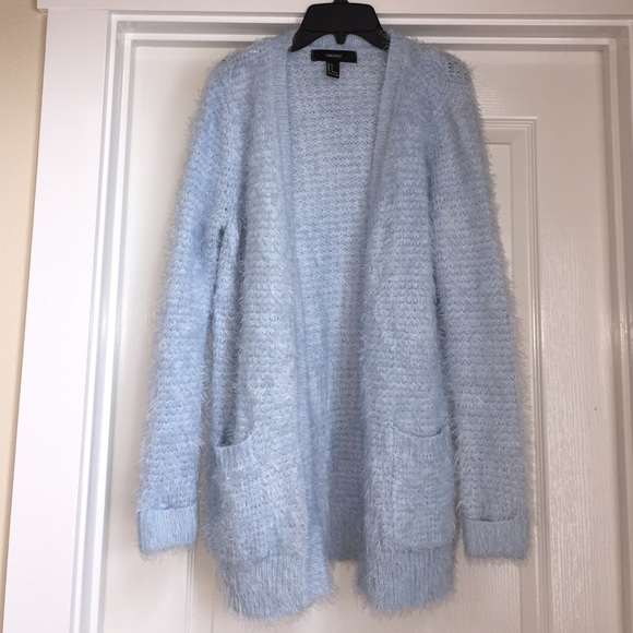43% off Forever 21 Sweaters - Fuzzy Light Blue Cardigan from !'s ...