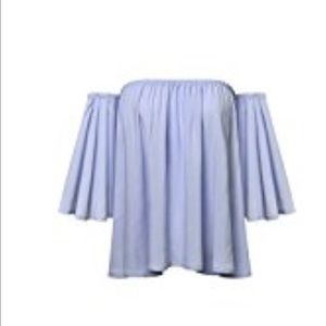 Tops - Periwinkle Off the Shoulder Top