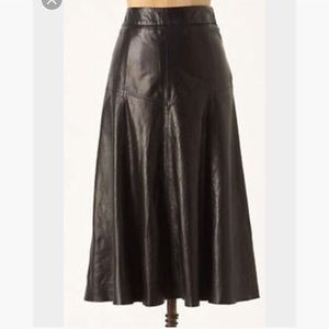 Anthropologie Leifsdottir Leather Midi Skirt