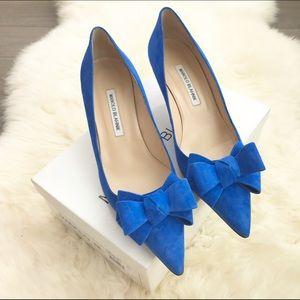Manolo Blahnik Shoes - Manolo Blahnik Cobalt Suede Pointed Toe Bow Heels
