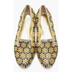 🎉Alexander McQueen Leather Beehive Studded Flats