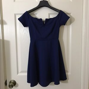 Charlotte Russe Off the Shoulder Navy Dress