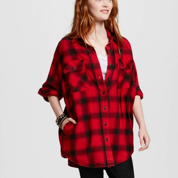 1ab76643 Oversized red and black plaid flannel tunic shirt.  M_58740fb4f739bc539c12d412