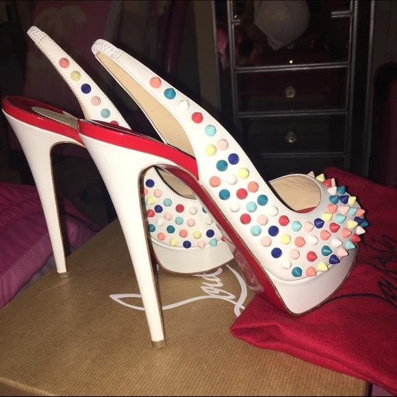 6ba6d0b1b3ae Christian Louboutin Shoes - Lady Peep Sling Spikes 150 Gomme White Multi  Matte